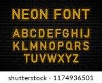 neon font  on brick wall... | Shutterstock .eps vector #1174936501
