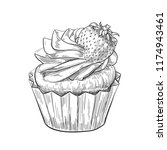 hand drawn cupcake with... | Shutterstock .eps vector #1174943461