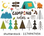 set of isolated camping nature  ... | Shutterstock .eps vector #1174947454
