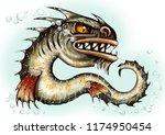sea monster water dragon fish... | Shutterstock . vector #1174950454