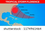 tropical storm florence... | Shutterstock . vector #1174961464