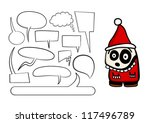 Funny Christmas character with set of speech bubbles. - stock vector