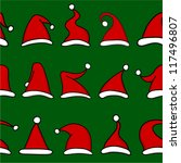 red santa hats on green... | Shutterstock .eps vector #117496807