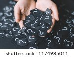 hand showing paper with... | Shutterstock . vector #1174985011