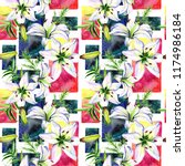 delicate lilies in watercolor...   Shutterstock . vector #1174986184