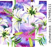 delicate lilies in watercolor...   Shutterstock . vector #1174986211