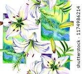 delicate lilies in watercolor...   Shutterstock . vector #1174986214