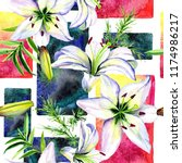 delicate lilies in watercolor...   Shutterstock . vector #1174986217