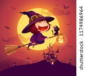 halloween flying little witch.... | Shutterstock .eps vector #1174986964