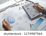 graphic designer drawing sketch ... | Shutterstock . vector #1174987564