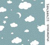 cute cloud seamless pattern... | Shutterstock .eps vector #1174997491