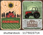 farm house and tractor retro... | Shutterstock .eps vector #1175023714