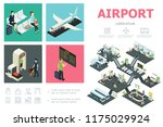 isometric airport infographic... | Shutterstock .eps vector #1175029924