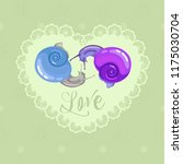 card with snails  greeting and...   Shutterstock .eps vector #1175030704