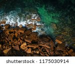 aerial view of waves  rocks and ... | Shutterstock . vector #1175030914