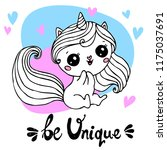 unicorn with hand written... | Shutterstock .eps vector #1175037691