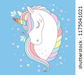 vector unicorn head. cute white ... | Shutterstock .eps vector #1175041021