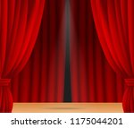 red stage curtain realistic... | Shutterstock .eps vector #1175044201