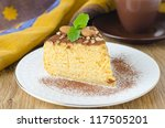 a piece of pumpkin cheesecake closeup - stock photo