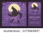 werewolf howling at the full... | Shutterstock .eps vector #1175065837