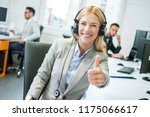 friendly blonde female... | Shutterstock . vector #1175066617