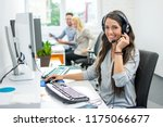 smiling friendly female call... | Shutterstock . vector #1175066677