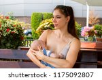 cheerful young mother... | Shutterstock . vector #1175092807