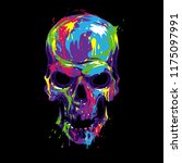 skull in color paint | Shutterstock .eps vector #1175097991
