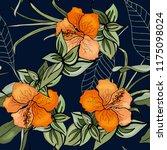 tropical vector seamless flower ... | Shutterstock .eps vector #1175098024