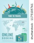 travel composition with famous... | Shutterstock .eps vector #1175105761