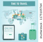 travel composition with famous... | Shutterstock .eps vector #1175105764