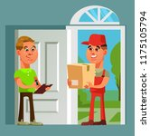 courier man character brought... | Shutterstock .eps vector #1175105794