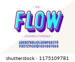 vector flow font 3d bold style... | Shutterstock .eps vector #1175109781