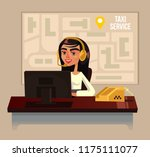 taxi call center office woman... | Shutterstock .eps vector #1175111077
