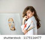 beautiful woman artist with... | Shutterstock . vector #1175116477