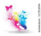 Stock vector grunge element of butterflies and splatter 117513544