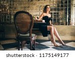 elegant beautiful woman sitting ... | Shutterstock . vector #1175149177