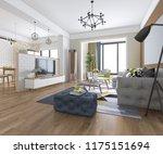 3d rendering modern dining room ... | Shutterstock . vector #1175151694