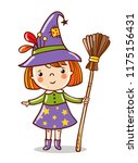 cute funny witch stand on a... | Shutterstock .eps vector #1175156431