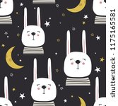 rabbits  hand drawn backdrop.... | Shutterstock .eps vector #1175165581
