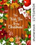 merry christmas wish lettering... | Shutterstock .eps vector #1175169634