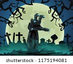 halloween theme zombie hand at... | Shutterstock .eps vector #1175194081