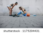 side view of woman doing sit...   Shutterstock . vector #1175204431