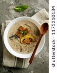 mushroom soup with champignons | Shutterstock . vector #1175210134
