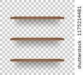 wooden shelf on transparent... | Shutterstock .eps vector #1175214481