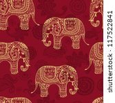 Clear seamless texture with stylized patterned elephants in Indian style. Vector endless background - stock vector