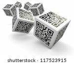 lottery. qr code cubes as dice. ... | Shutterstock . vector #117523915