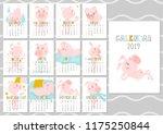 monthly creative calendar 2019... | Shutterstock .eps vector #1175250844