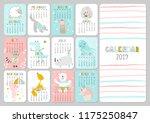 monthly creative calendar 2019... | Shutterstock .eps vector #1175250847