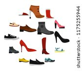 flat shoe icons set. universal...
